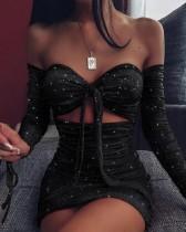 Sexy Sparkling Strapless Knot Mini Dress
