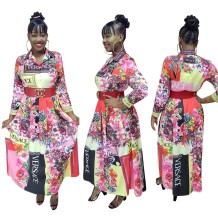 Floral Print African Long Sleeve Maxi Dress