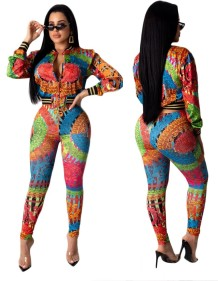Print Colorful African Long Sleeve Jacket and Pants Set