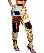 Pantalones de fiesta de lentejuelas de cintura alta de colores