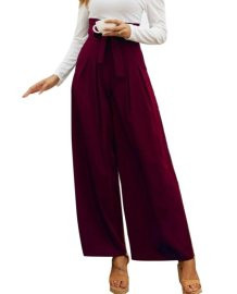 Solid Color Wide Legges High Waist Trousers