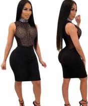 Black Sexy Rhinestone Bodycon Party Dress