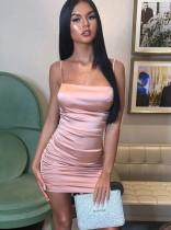 Satin Sexy Straps Geraffte Minikleid