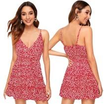 Vestido de playa floral con tirantes de verano