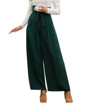 Calças de cintura alta em cor sólida com pernas largas