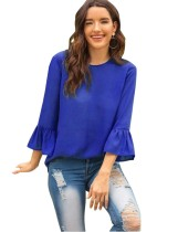Solid Color O-Neck Blouse with Wide Cuffs