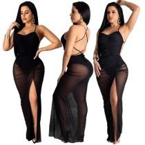 Vestido de malla larga con tiras negras
