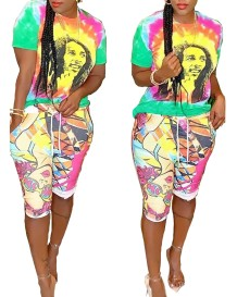 Character Print Colorful African Shirt and Shorts