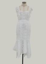 Vestido de festa de sereia de cintas de renda branca