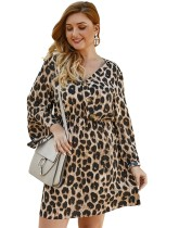 Plus Size V-Neck Leopard Dress with Sleeves