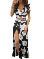 Falda larga sexy con recorte floral y falda larga con aberturas