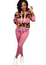 Traje de sudadera con capucha y manga larga con estampado de leopardo