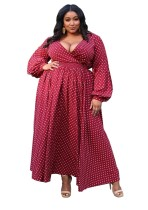 Plus Size Red Polka Long Sleeve Maxi Dress