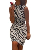 Платье миди без рукавов с принтом зебры
