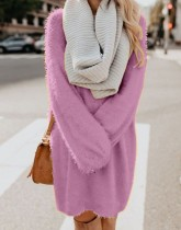 Solid Color O-Neck Long Sleeve Plush Dress