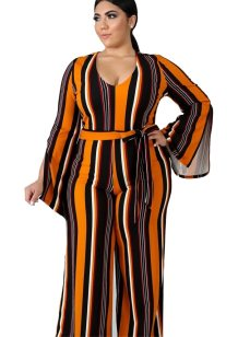 Plus Size Colorful Stripes Jumpsuit with Slit Sleeves