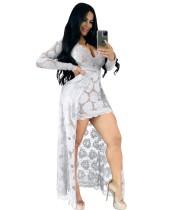 Zomer sexy witte kanten v-hals hoog-laag lange jurk met mouwen