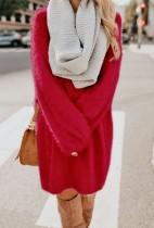 Düz Renk O-Yaka Uzun Kollu Peluş Elbise