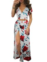Sexy Floral Wrap Crop Top and Slit Maxi Skirt