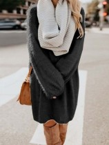 Robe en peluche à manches longues et col rond