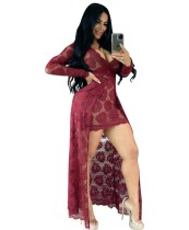 Summer Sexy Red Lace V-Neck High Low Long Dress with Sleeves