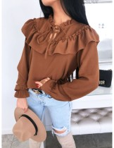 Solid Color Ruffles Vintage Blouse with Sleeves