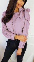Solid Color Round Neck Shirt with Ruch Sleeves