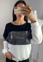 Color Block Sequins Round Neck Shirt with Sleeves