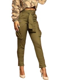 Army Green High Waist Casual Trousers