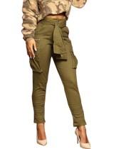 Calças ocasionais de cintura alta verde exército