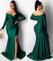 Abito da sera a sirena a fessura a maniche lunghe con scollo a cuore sexy verde