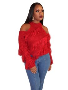 Cut Out Shoulders Plush Sweater Top