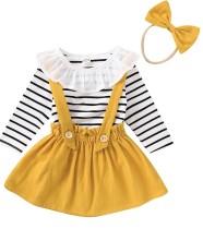 Kids Girl Print Langarm Shirt und Trägerröcke