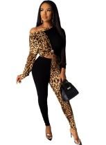 Conjunto de camisa de manga larga y pantalón ajustado con estampado de leopardo