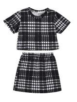 Набор рубашек и юбок с принтом в клетку для девочек