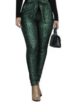 Calças de festa de cintura alta verde com lantejoulas