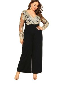 Plus Size V-Neck Floral Jumpsuit with Sleeves