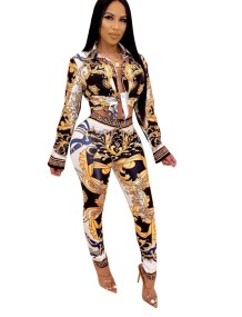 Print Retro African Long Sleeve Top and Pants Set