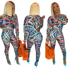 Print Colorful African Blouse and Pants Set