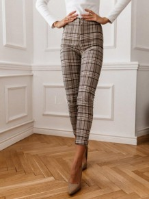 Plaid Print High Waist Zipper Pants