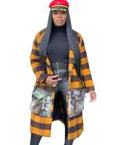 Langer Mantel mit Karomuster und Camou-Taschen