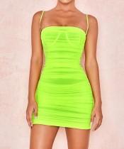 Mini vestido con pliegues y pliegues sexy