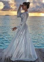 Deep-V Sexy Langarm Pailletten Abendkleid