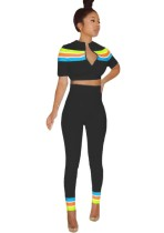 Sexy Colorful Stripes Crop Top and Pants Set