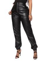 Schwarze Lederhose mit hohem Bund und Reißverschluss