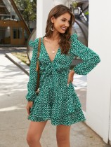 Polka Print Deep-V Long Sleeves Ruffles Dress