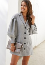 Gray Blazer Dress with Pop Sleeves