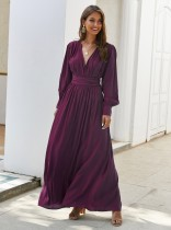 Solid Color V-Neck Long Sleeve Maxi Dress