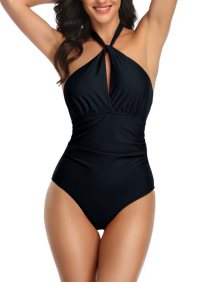 Solid Color One Piece Halter Swimwear