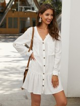 Button Up Long Sleeve V-Neck Lazy Dress